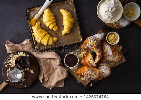 fresco · croissant · branco · ouro · café · da · manhã · isolado - foto stock © georgemuresan