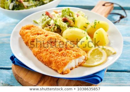 Balık fileto akşam yemeği limon yeme öğle yemeği Stok fotoğraf © M-studio
