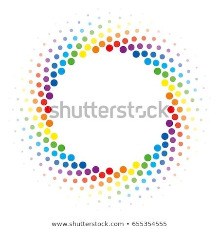 虹 ハーフトーン 渦 サークル フレーム ベクトル ストックフォト © almagami