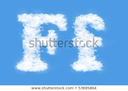Letter F cloud font symbol. White Alphabet sign on blue sky Stock photo © popaukropa