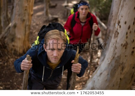 Hiker couple treading in forest Stock photo © wavebreak_media