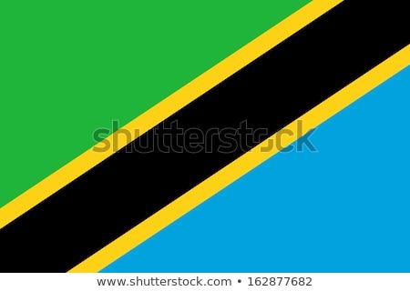 Tansania Flagge weiß Zeichen blau Welle Stock foto © butenkow