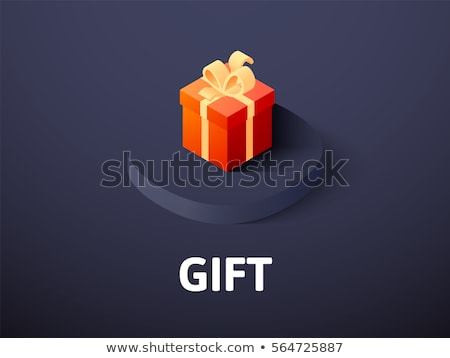 gift box with red ribbon isometric 3d icon stock photo © studioworkstock