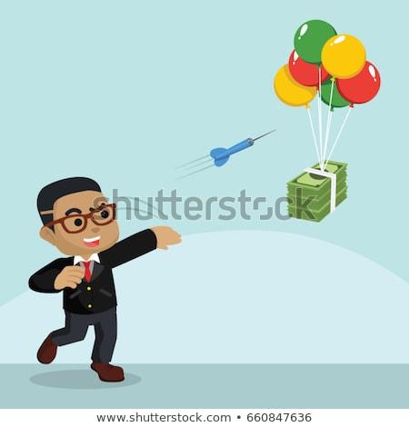 Stock fotó: Afrikai · üzletember · dob · pénz · levegő · üzlet