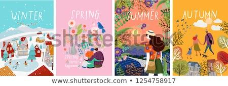 Quatro natureza árvores flores ilustração árvore Foto stock © bluering