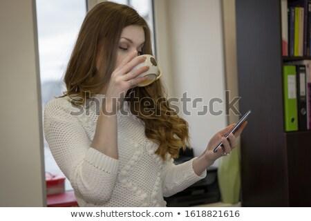 довольно · молодые · Lady · Постоянный · окна - Сток-фото © deandrobot