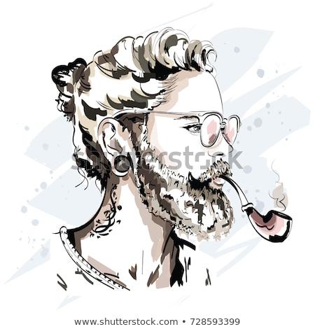 Gezicht baard modieus haren oren Stockfoto © popaukropa
