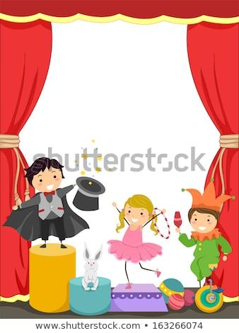 Gyerekek előad cirkusz illusztráció boldog háttér Stock fotó © bluering