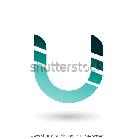 green striped bold icon for letter u vector illustration stock photo © cidepix
