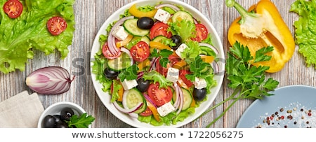 Fraîches tomate olives salade herbes Photo stock © Peteer