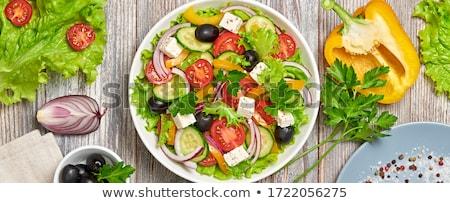 ejotes · tomate · queso · ensalada · blanco · placa - foto stock © peteer