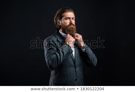 mature male model wearing suit with grey hairstyle and beard Stock photo © zdenkam