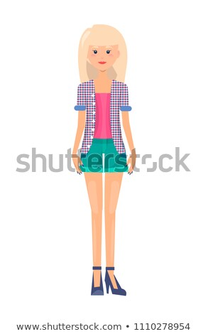 Pretty Woman in Summer Mode Outer Garment Vector Stock photo © robuart