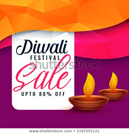 abstract diwali sale discount banner with two diya Stock photo © SArts