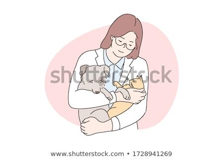 cartoon smiling doctor kitten stock photo © cthoman