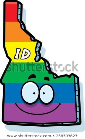 Cartoon Idaho homohuwelijk illustratie glimlachend regenboog Stockfoto © cthoman