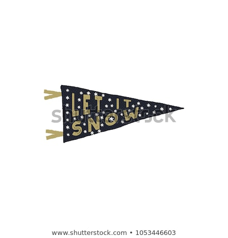 Vintage hand drawn pennant. Let it snow quote with snowflakes. Hand drawn lettering Christmas, new y Stock photo © JeksonGraphics