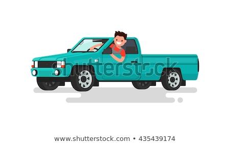 Happy Cartoon Pickup Truck Stock photo © cthoman