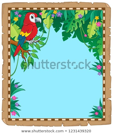Parchment with parrot in jungle Stock photo © clairev
