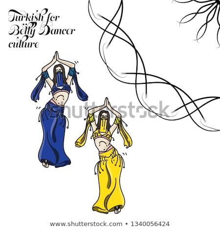 barriga · dançarina · azul · tradicional · vestir · branco - foto stock © adrenalina