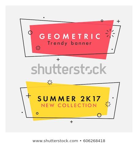 トレンディー 幾何学的な ベクトル バナー ピンク 黄色 ストックフォト © Natali_Brill