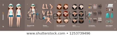 Cartoon boos dief vrouw naar Stockfoto © cthoman