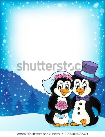 Pinguim casamento quadro flor casal arte Foto stock © clairev