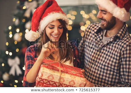 vrouw · genieten · christmas · geschenken · mooie · vrouwelijke - stockfoto © Anna_Om