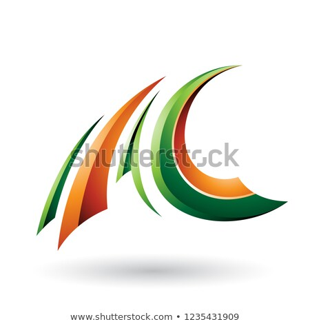 Green and Orange Glossy Flying Letter C Vector Illustration Stock photo © cidepix