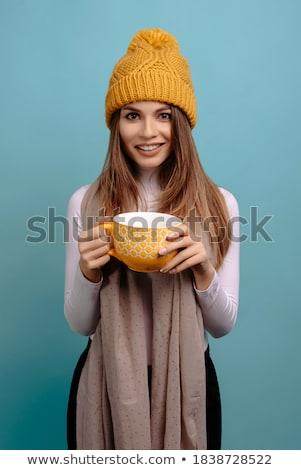 Femme tasse thé écharpe Photo stock © deandrobot