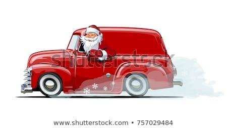 Cartoon Retro Christmas Van With Santa Claus Stock fotó © Mechanik