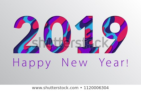 2019 happy new year creative text in papercut style Stock photo © SArts