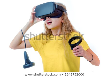 girl wearing virtual reality goggles stock photo © lopolo