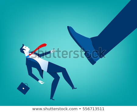 Stock photo: Giant businessman kicking out little businessman