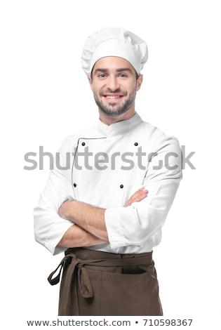 maschio · chef · studio · ritratto · coltello · isolato - foto d'archivio © doodko