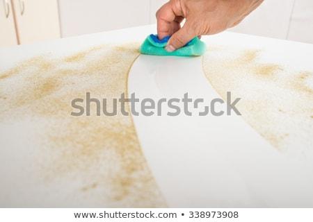 Gondnok takarítás konyhapult spray üveg mosolyog Stock fotó © AndreyPopov