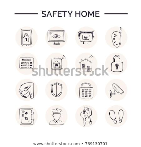 Tűzjelző kézzel rajzolt rajz ikon skicc firka Stock fotó © RAStudio