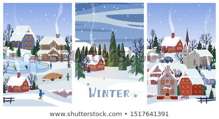 Tree Pine and Houses Person Skiing Set Vector Stock photo © robuart