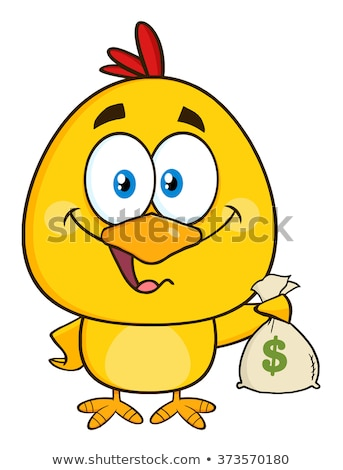 Funny Yellow Chick Cartoon Character Holding Money Bags Stock photo © hittoon