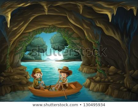 Criança equitação barco rio caverna ilustração Foto stock © colematt