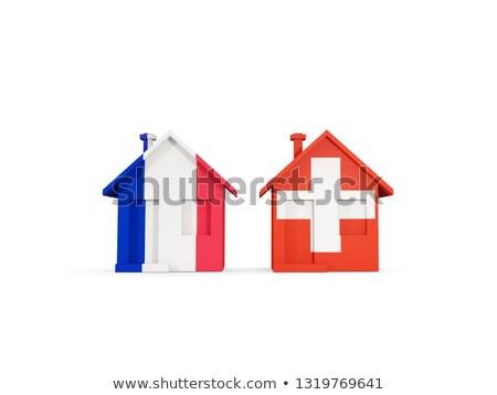 два домах флагами Франция Швейцария изолированный Сток-фото © MikhailMishchenko