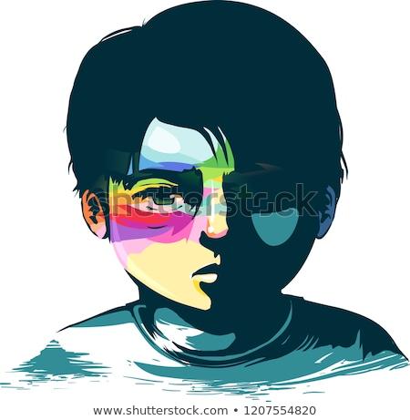 Gyerek fiú remény nyomorúság illusztráció szomorú Stock fotó © lenm