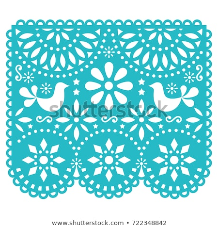 Papel Picado vector design, Mexican cut out paper decorations with flowers and geometric shapes, tra Stock photo © RedKoala