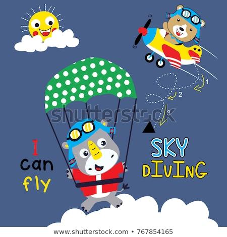 vector set of animal parachuting stock photo © olllikeballoon