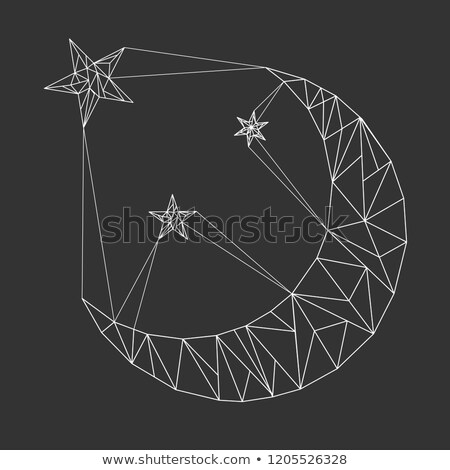 Moon and stars in polygonal style. Triangular polygons. Vector Stock photo © Arkadivna