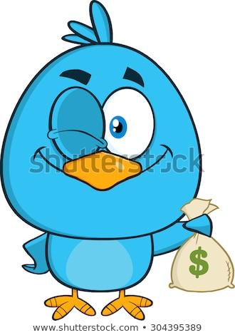 Winking Blue Bird Cartoon Character Holding A Bag Of Money Stock photo © hittoon