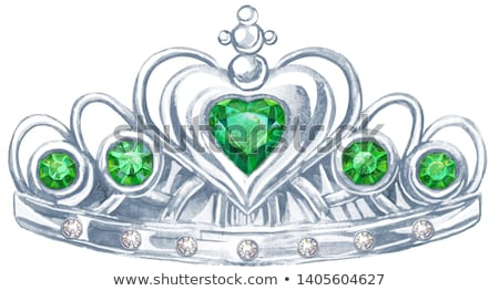Watercolor silver crown Princess with precious stones emerald and fianit Stock photo © Natalia_1947