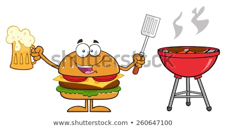 Americano hamburguesa cerveza barbacoa Foto stock © hittoon
