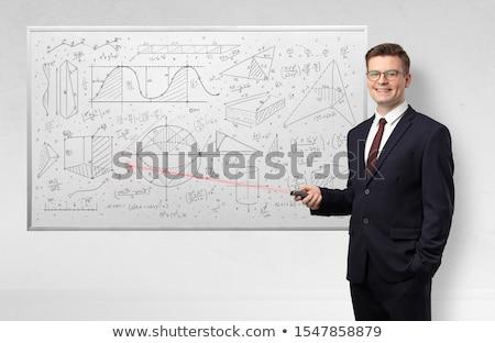 Profesor nauczania geometria laserowe człowiek Zdjęcia stock © ra2studio