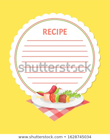Recipe Template with Kebab Ingredients on Plate Stock photo © robuart